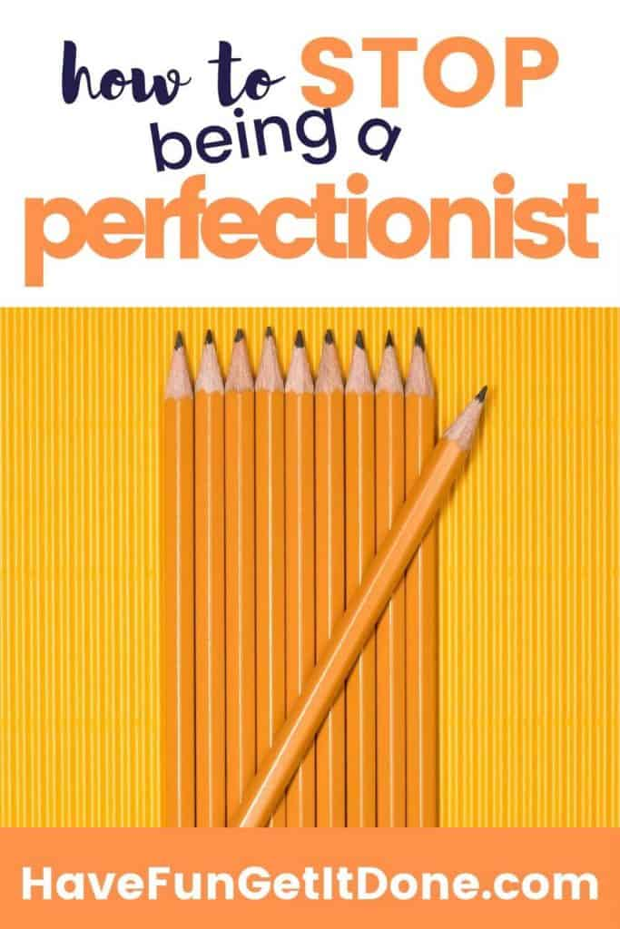 Pencils lined up with one off, to encourage people to stop being a perfectionist